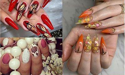 Leave nails - jesienny manicure 2019. 25 najpiękniejszych propozycji na jesienne hybrydy z liściem