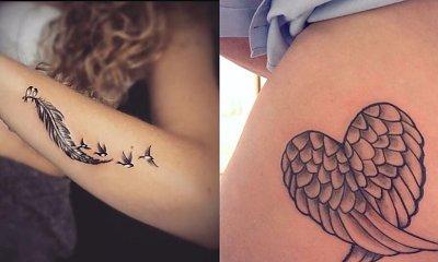 Tatuaże z motywem piór i skrzydeł - 22 wzory tatuaży