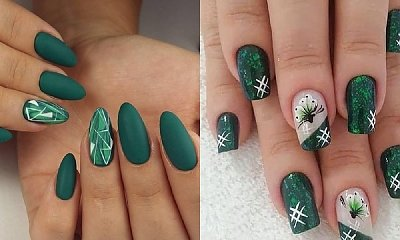 Szmaragdowe paznokcie - manicure w odcieniach jesieni [GALERIA]
