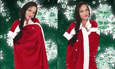 Małgorzata Godlewska śpiewa otulona tylko peleryną św. Mikołaja. A gdy ją zdjęła... To gruba przesada!