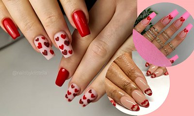 Urocze walentynkowe zdobienia na paznokciach w kolorach czerwieni i różu.