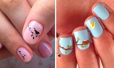 Piękny wiosenny manicure - zdobienia z motywem ptaków