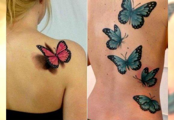 Tatuaż Motyl Kolorowe Wzory Na Nadgarstek Kark I Plecy