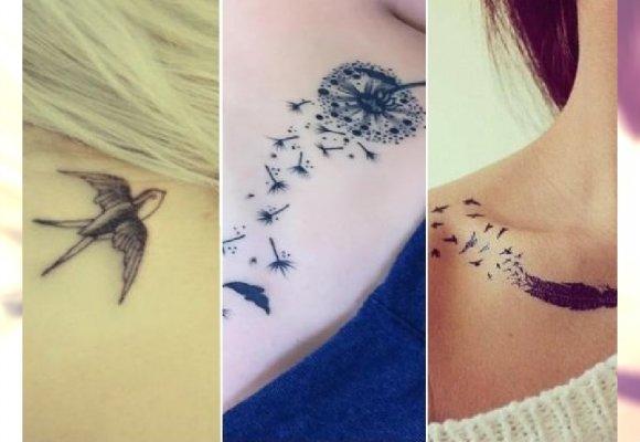 Dmuchawce Piórka Serduszka Super Dziewczęce Tatuaże Na