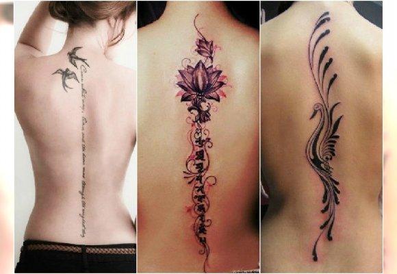 Tatuaż Wzdłuż Pleców Subtelne I Kobiece Wzory