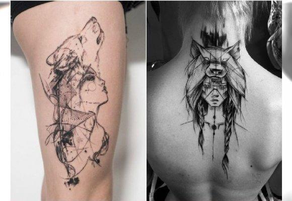 Dziewczyna Z Wilkiem Modny Motyw Tatuażu Przejrzyjcie