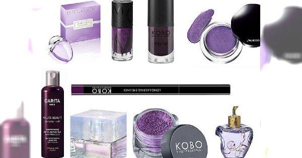 Purpurowy deszcz kosmetyków