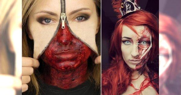 Makijaże na Halloween - tylko dla ludzi o mocnych nerwach!