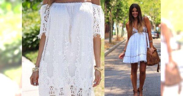 Idealna na festiwal i plażę - biała koronkowa sukienka