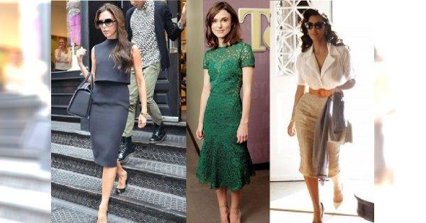 """Spódnice i sukienki """"za kolano"""" - najlepsze stylizacje"""