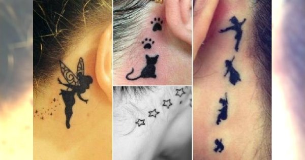 Tatuaż Za Uchem Gwiazdki Piórka I Inne Modne Wzory