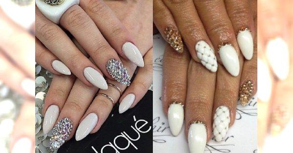 Biały manicure z dodatkiem złota i srebra. eleganckie propozycje dla stylowych kobiet!