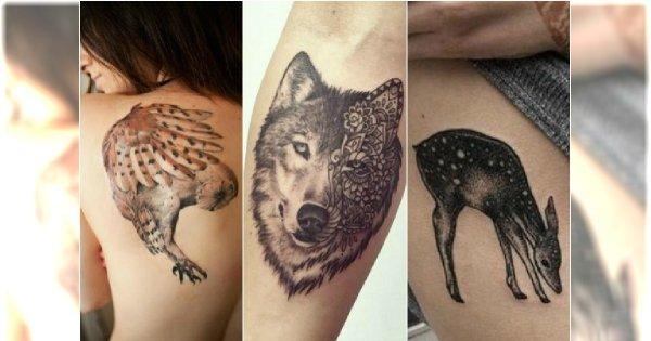 Rewelacyjne Tatuaże Z Leśnymi Zwierzętami Wilki Sowy Lisy