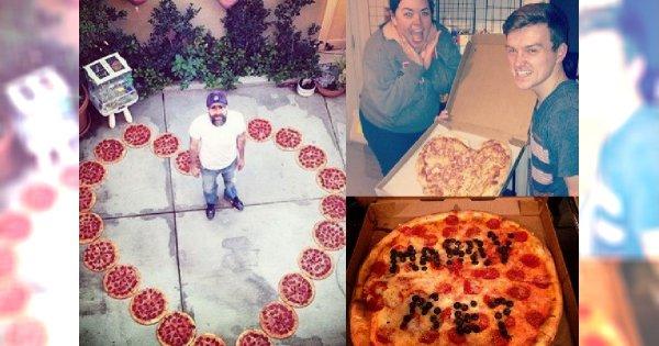 Zobacz najgłupszy trend w sieci - oświadczyny na pizzie. Ci ludzie naprawdę muszą lubić jeść!