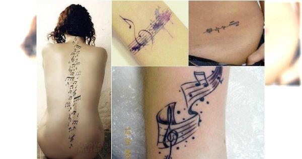 Hot Muzyczny Tatuaż Urocze Wzory Z Nutami Instrumentami I Napisami