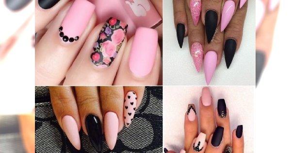 Czarno Różowy Manicure Stylowo Przełamujemy Cukierkowy Kolor