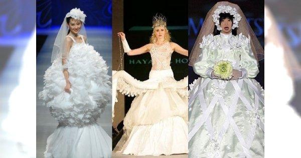 Suknia ślubna rodem z najgorszych koszmarów... Czy pan młody nie uciekł?!