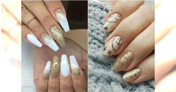 Biały manicure ze złotem - 20 pięknych wzorów na święta