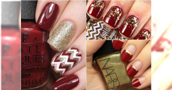 świąteczny Czerwony Manicure Ze Złotem Galeria Niezwykłych Wzorów