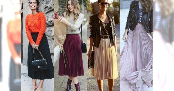 długa spódnica i kurtka skórzana