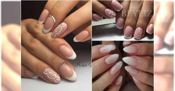 Manicure ślubny Największe Trendy Biała Koronka Babyboomer Cyrkonie