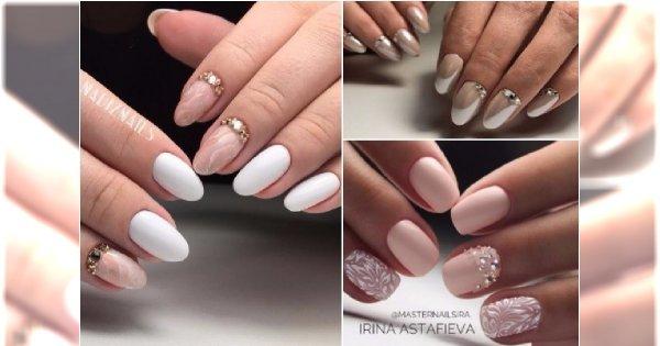 Naturalny manicure w odcieniach beżu, pudrowego różu i bieli