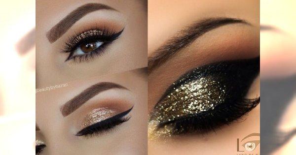 Brokatowy makijaż oka idealny na imprezę sylwestrową - galeria pięknych inspiracji
