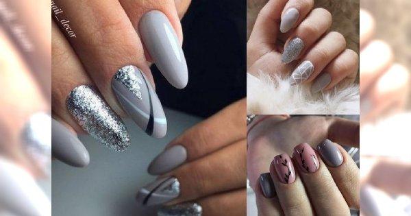 Grey manicure 2018 - efektowne zdobienie paznokci z różnymi odcieniami szarości w roli głównej