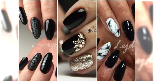 Ciemne paznokcie ze zdobieniami. 30 eleganckich wzorów na karnawał