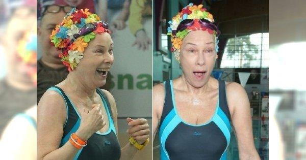 Małgorzata Potocka w kostiumie kąpielowym na zawodach pływackich. 64-latka ma świetną figurę!