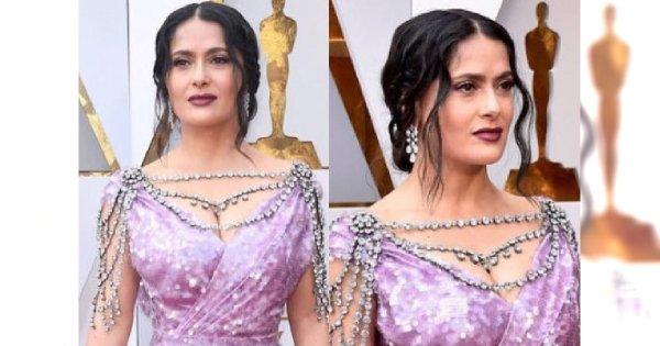"""Oscary 2018: Salma Hayek w sukience """"JAK ŻYRANDOL""""! Jej kreacja została uznana za NAJBRZYDSZĄ"""