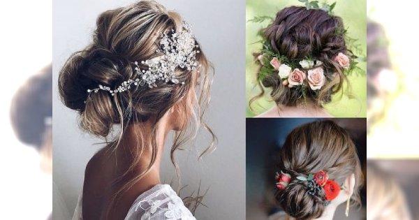 Fryzury ślubne 2018 - galeria najpiękniejszych upięć z ozdobami do włosów
