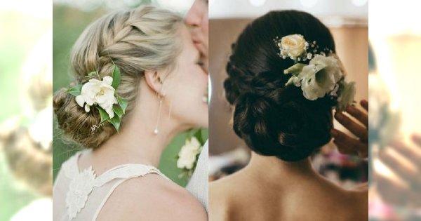 Żywe kwiaty we włosach - 18 romantycznych fryzur ślubnych