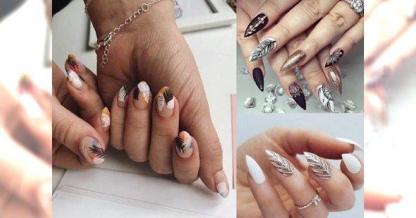 Manicure z piórkiem - galeria modnych i ciekawych zdobień