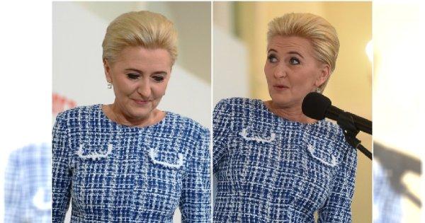 Agata Duda powoli dorównuje stylem Jolancie Kwaśniewskiej. Ale czy ten kraciasty kostium to na pewno dobry wybór?