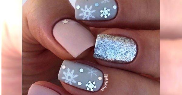 Zimowy Manicure Paznokcie Ze Wzorkiem śnieżynki