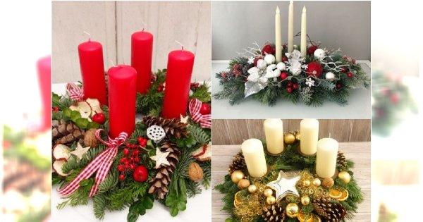 Stroik świąteczny na Boże Narodzenie. 25 pomysłów na stroik ze świecą