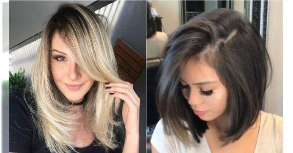 Fryzury średnie 2019 Wypróbuj Cieniowane Włosy Z Grzywką I