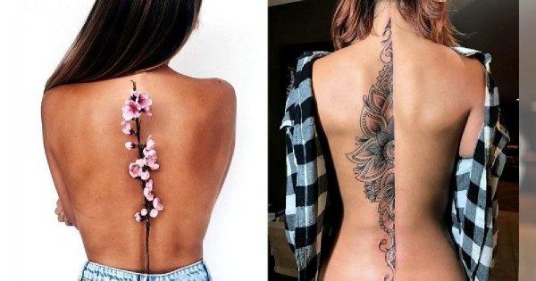 Tatuaże Wzdłuż Pleców Galeria Subtelnych I Kobiecych Wzorów