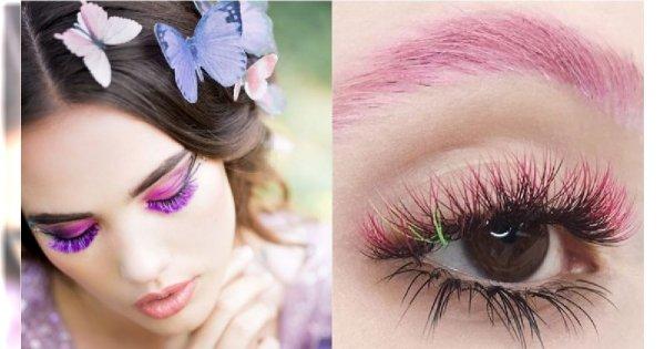 Modny makijaż oka 2019: Kolorowe rzęsy