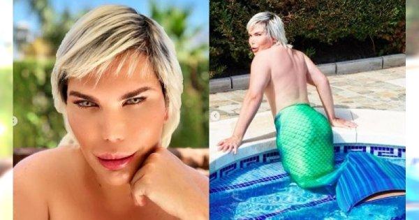 Żywy Ken w roli syrenki pluska się w turkusowych wodach basenu. Jak Wam się podoba z rybim ogonem?