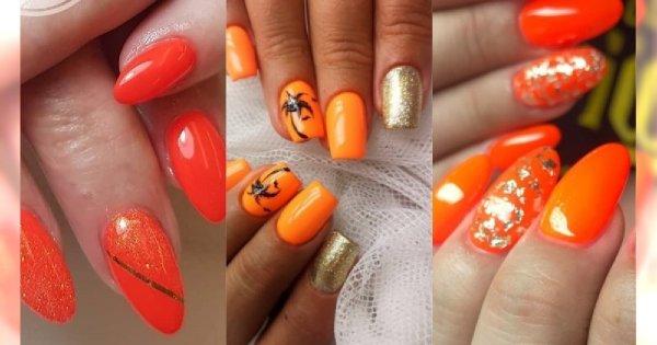 Manicure 2019: Pomarańcz i złoto to kolory lata. Zobacz najpiękniejsze propozycje na letni pomarańczowo-złoty manicure