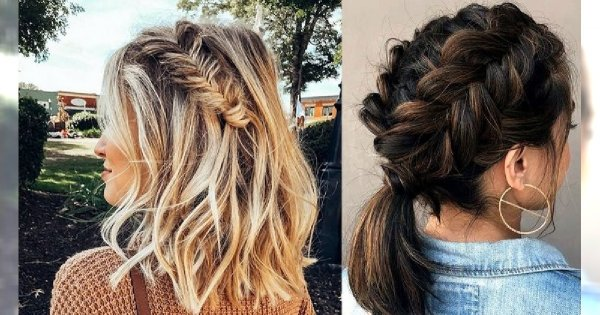 Modne fryzury z warkoczem dla włosów krótkich i półkrótkich