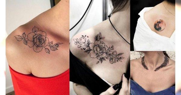 Tatuaż na obojczyk - 20 ciekawych i kobiecych wzorów