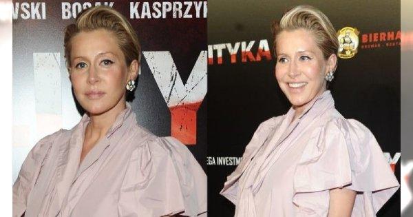 """Katarzyna Warnke na premierze filmu """"Polityka"""". Wybrała obszerną kreację, która jeszcze bardziej podkreśliła ciążowy brzuszek!"""