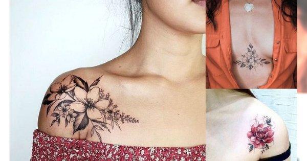 Tatuaże na dekolcie i ramieniu - galeria najpiękniejszych projektów