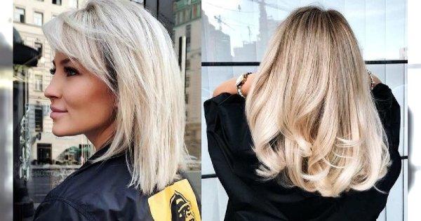 Półdługie fryzury dla blondynek - przegląd modnych cięć 2020
