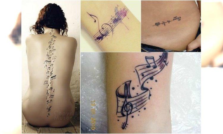 Hot Muzyczny Tatuaż Urocze Wzory Z Nutami Instrumentami