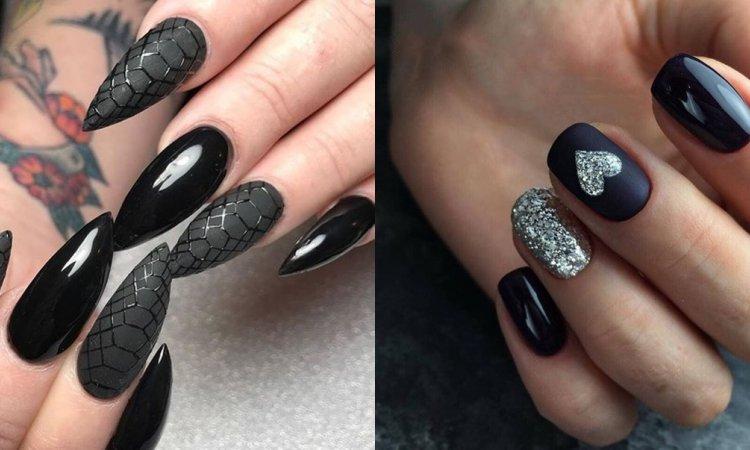 Czarny manicure dla krótkich i długich paznokci w 30 najpiękniejszych wydaniach