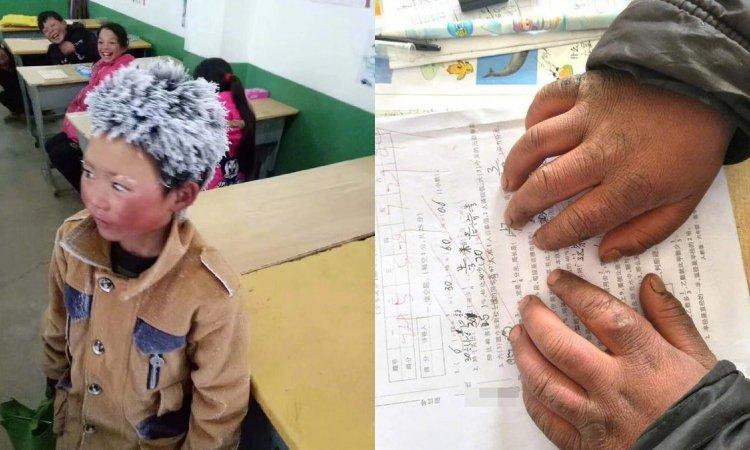 Chłopiec przyszedł do szkoły ze szronem na głowie i zamarzniętymi rzęsami. Gdy nauczyciel odkrył prawdę, pękło mu serce i zaczął płakać